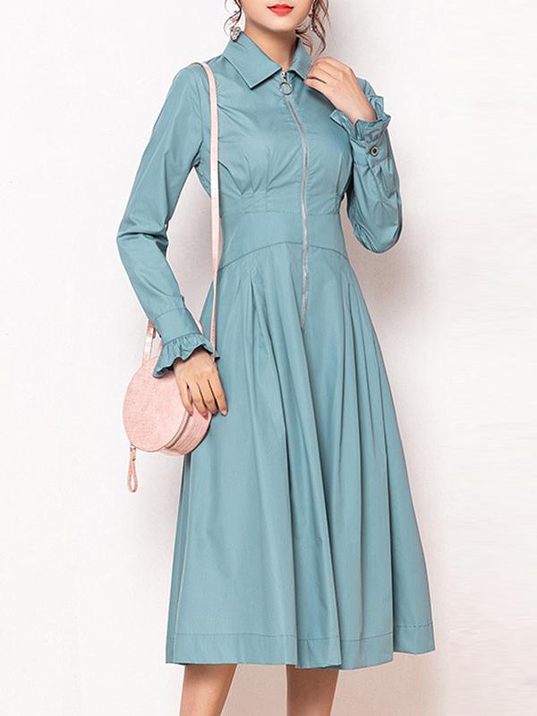 British Pure Color Turn-Down Collar Long Sleeves Big Hem Dress
