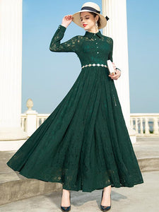 Vintage Green Lace Turn-Down Collar Long Sleeves High Waist Dress