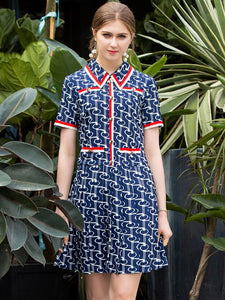 Fashion Short Sleeve Lapel Collar Skater A-line Dresses
