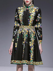Vintage  Print Turn-Down Collar Long Sleeve Gathered Waist A-line Dress