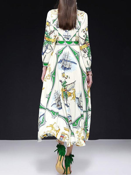 Elegant Print Sashes V-Neck Long Sleeve Big Hem Dress