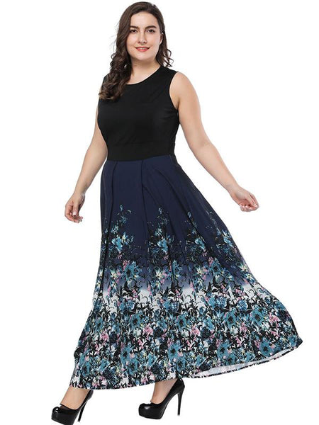 Print Stitching Plus Size Sleeves O-Neck Big Hem Maxi Dress