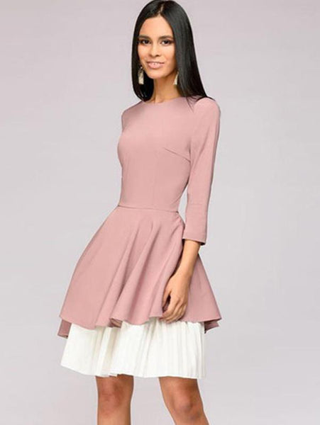 Vintage Pure Color Stitching O-Neck 3/4 Sleeve Irregular Dress