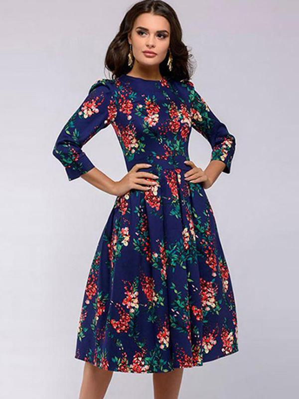 Chic Printing Collected Waist Slim O-Neck 3/4 Sleeve Skater Dress