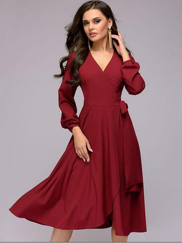 Sexy Elegant Long Sleeve Deep-V Neck Pure Color Big Hem Dress