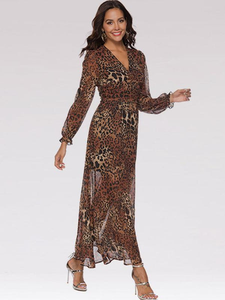 Sexy Leopard Printed V Neck Long Sleeve Chiffon Beach Dresses