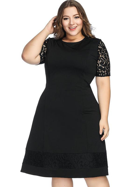 Embroidered Hollow out Short Sleeve Round Collar  Plus Size Dress