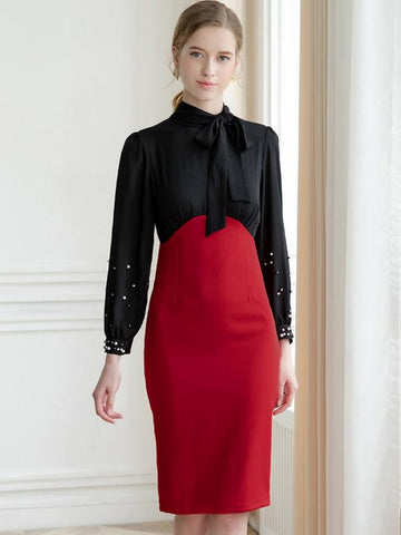 Work Stitching Long Sleeve Bowknot Stand Collar Sheath Dress