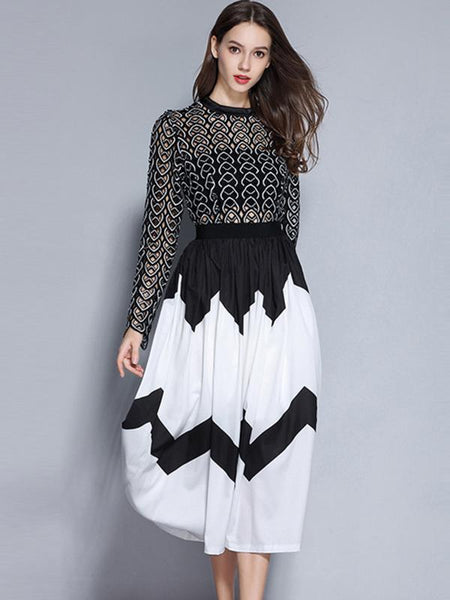 Party Hollow Out O-Neck Flare Sleeve Fake Two Piece Pleated Dress
