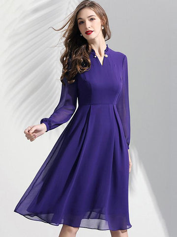Sexy Purple Long Sleeve Slim V-Neck Slim Chiffon Dress