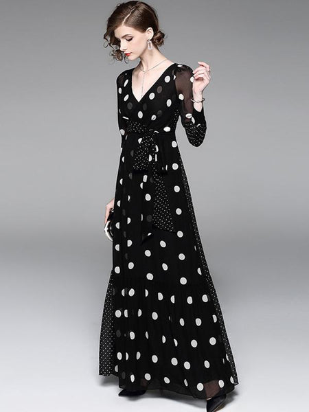 Design Sashes Polk Dots V-Neck Chiffon Long Sleeve Maxi Dress
