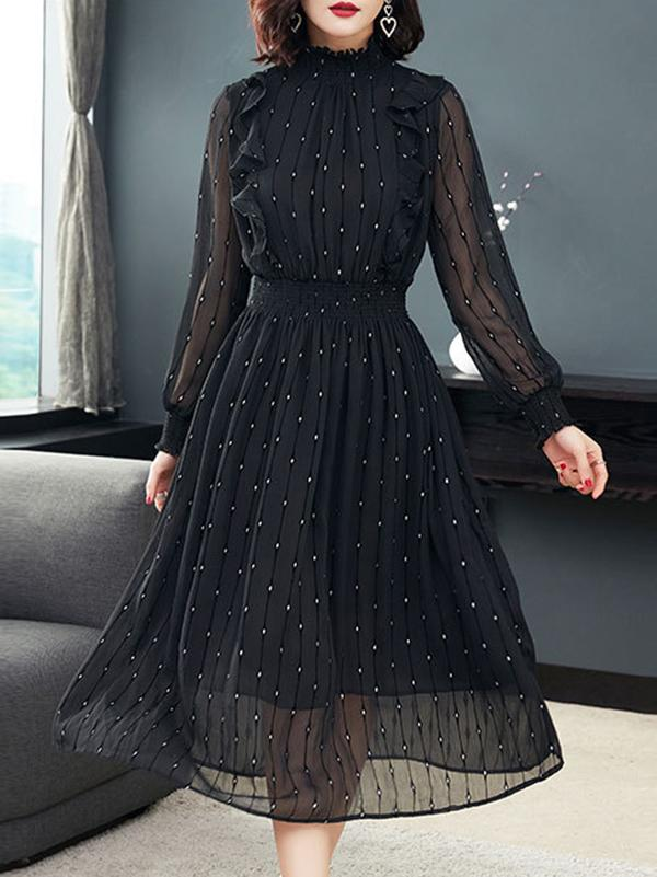 Casual Stand Collar Puff Sleeve Big Hem Dress