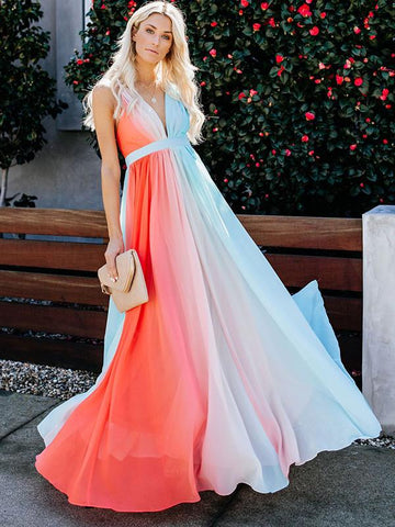 Gradient Fashion Print Chiffon Sleeveless V-Neck Sheath Maxi Dress