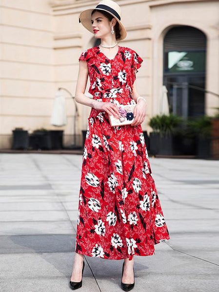 Sweet Romantic Slim Big Hem Floral V-Neck Maxi Dress