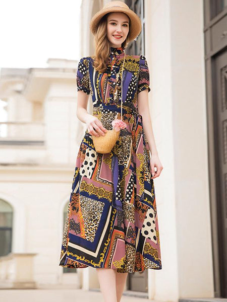 Vintage Elegant Multicolor Stand Collar Puff Sleeve Skater Maxi Dress