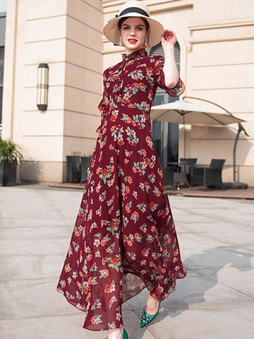 Elegant Red Stand Collar Half Sleeve Slim Big Hem Dress