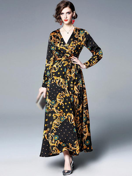 Vintage Print V-Neck Sashes High Waist Big Hem Maxi Beach Dress