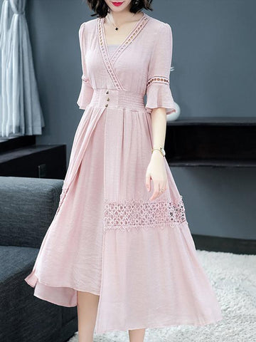 Sweet Pink V-Neck Puff Sleeve Big Hem Maxi Dress