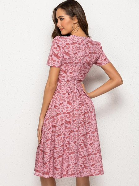 Stylish Print Pleated Short Sleeve O-Neck Sheath Skater Dress