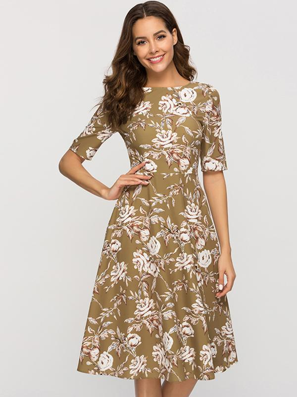 Floral Vintage Khaki Backless Short Sleeve Big Hem Skater Dress