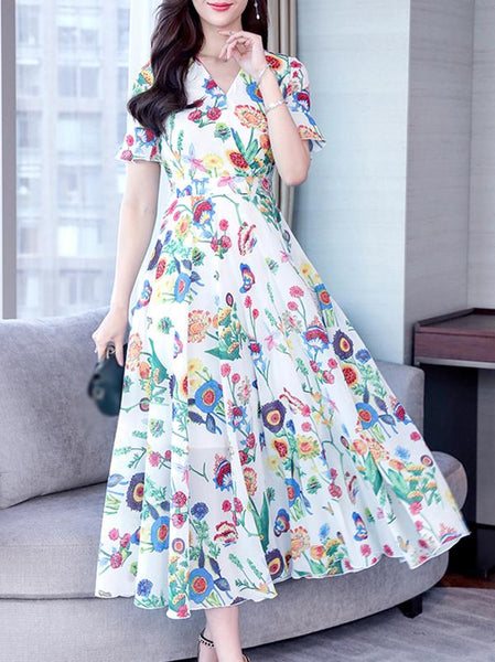 Silm Floral Flare Sleeve Chiffon V-Neck Big Hem Skater Dress