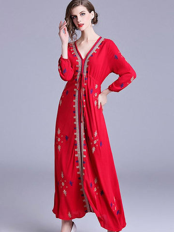 Folk Embroidery Behomia V-Neck Long Sleeve Maxi Dress