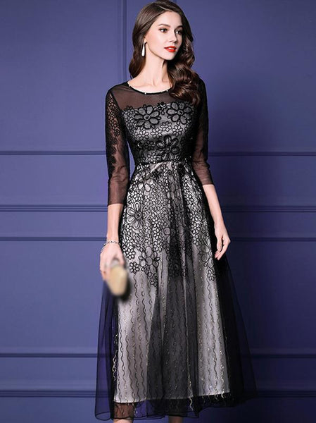 Stylish Embroidrry Black Mesh 3/4 Sleeve Fake Two Piece Party Dress