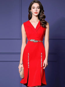 Work Red Sleeveless V-Neck Asymmetrical Bodycon Dress