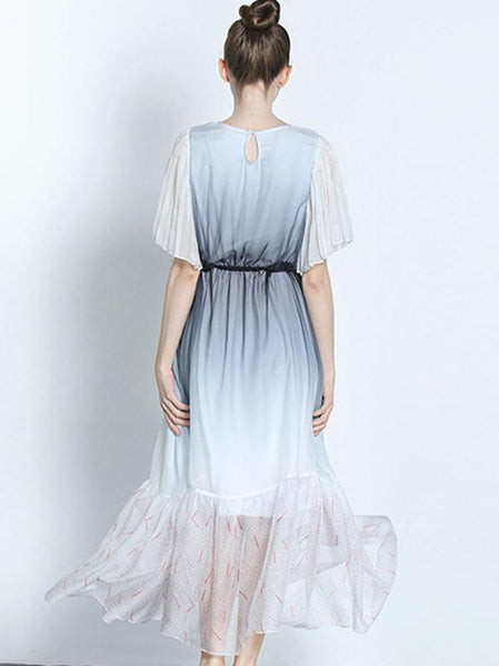 Stylish Lace Ruffles Sleeve O-Neck Big Hem Maxi Dress