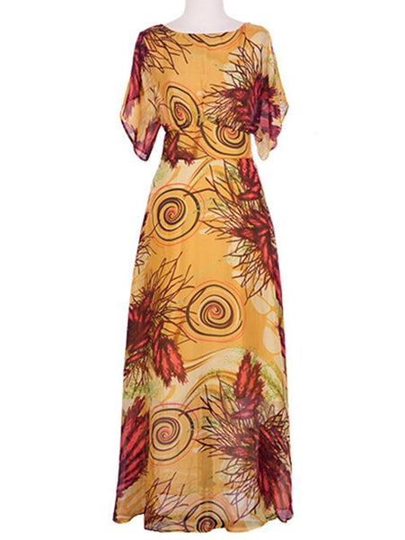 Bohemia Short Sleeve O-Neck Slim A-Line Maxi dress