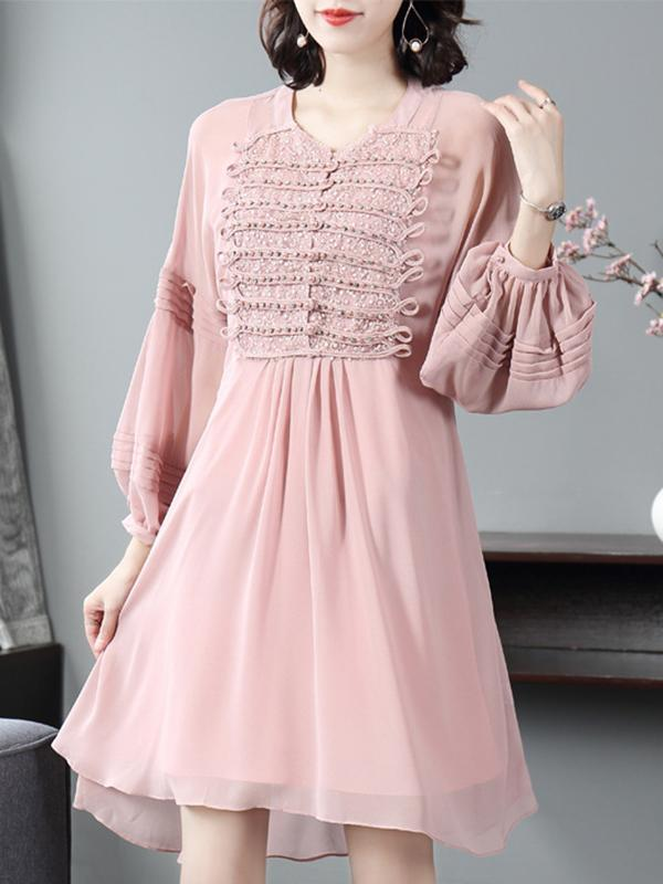 Pink Sweet O-Neck Puff Sleeve Beaded Asymmetrical Skater Dress