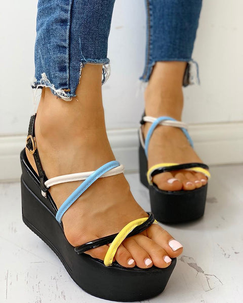 Colorful Strap Platform Wedge Sandals