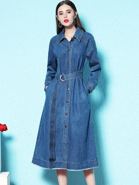 Fashion Pure Color Tie-waist Single-breasted Skater Denim Dress