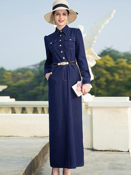 Vintage Slim Turn Down Collar Split Long Sleeve Denim Maxi Dress