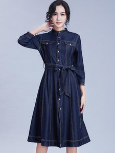 Denim Stand Collar 3/4 Sleeve Single-breasted Skater Dress