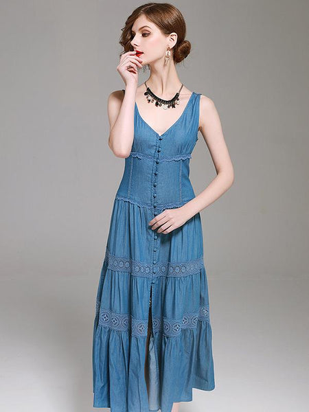 Embroidery Slim V-Neck Split Sleeveless Big Hem Dress