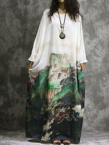 Casual Ink Print Bat Sleeve Stitching Shift Maxi Dress