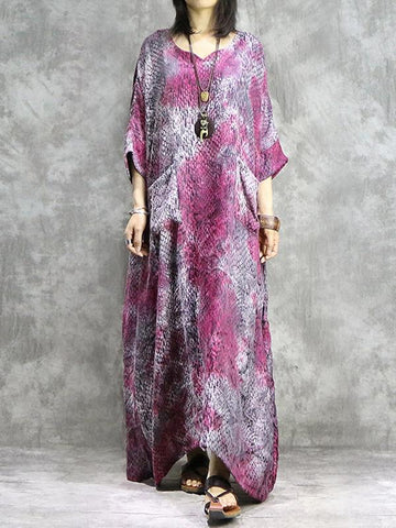 Vintage Jacquard Pockets V-Neck 3/4 Sleeve Shift Oversize Dress