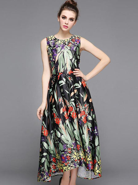 Chic Sleeveless O-Neck Fashion Big Hem Maxi Dress