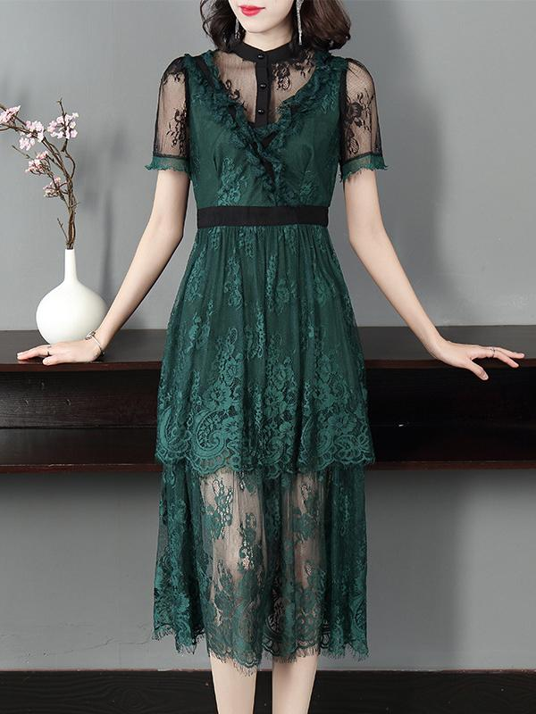 Sexy Lace Mesh Short Sleeve Green Cupcake Skater Dress