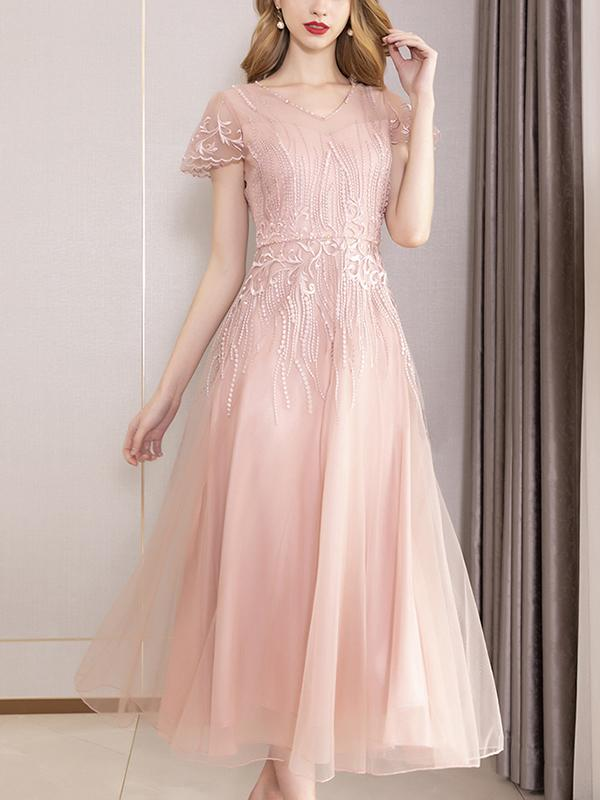 Elegant V-Neck Ruffles Sleeve Slim Big Hem Party Dress