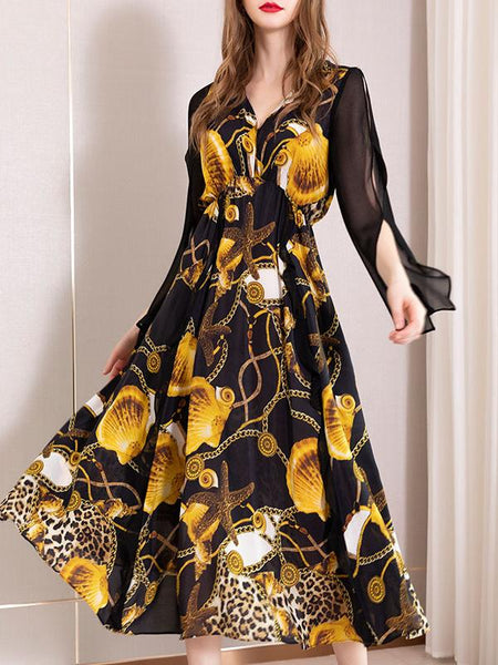 Chic High Waistline Silk 3/4 Sleeve Big Hem Dress