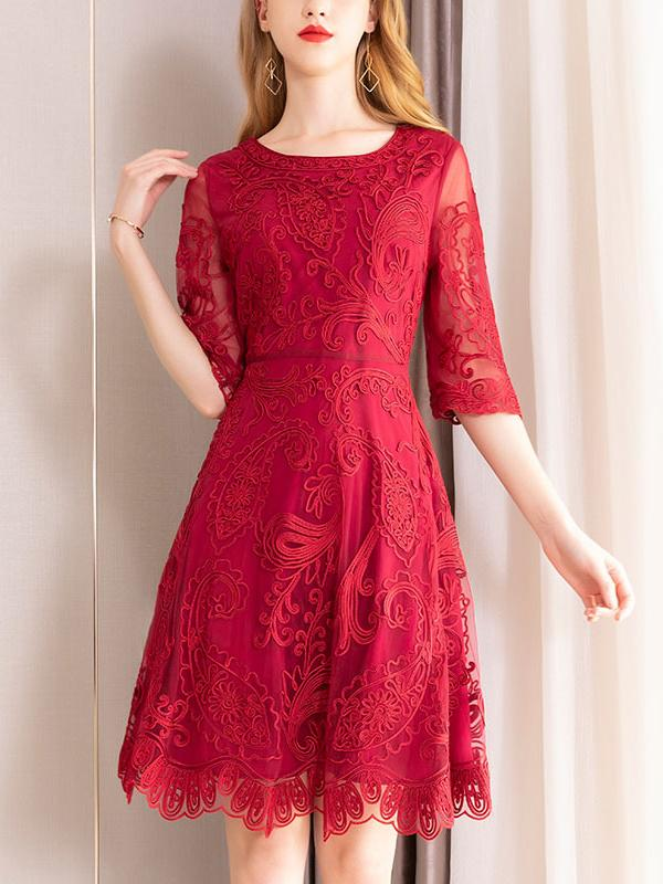 Elegant Half Sleeve Slim Lace Sexy Red Skater Dress