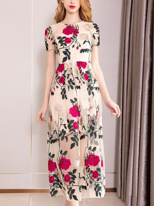 Vintage Chiffon O-Neck Embroidery Short Sleeve Maxi Dress
