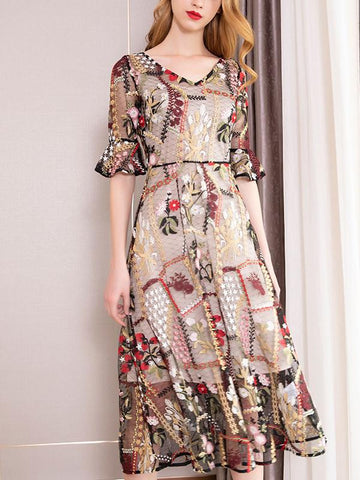 Party Embroidery V-Neck Pagoda Sleeve Slim Skater Dress
