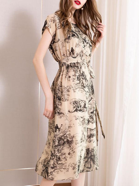 Vintage Ink Printing Slim Lacing Silk Skater Dress