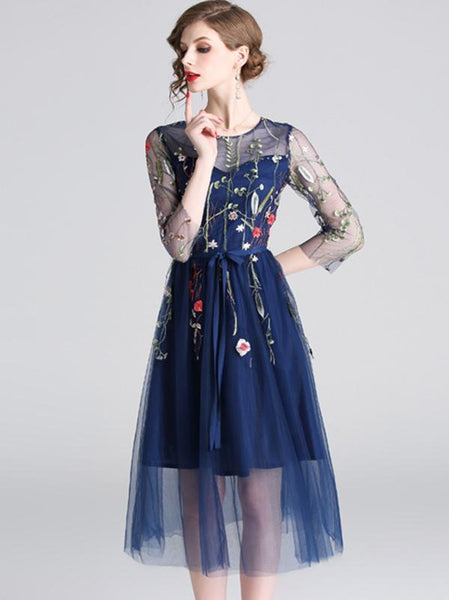 Mesh 3/4 Sleeve Slim Embroidery Sashes A-Line Dress