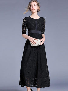 Hollow Out O-Neck Half Sleeve Black Maxi Dress