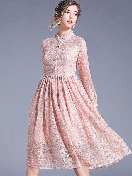 Chic Long Sleeve Stand Collar High Waist Lace Skater Dress