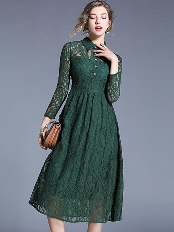 Stylish Polo Collar Long Sleeve Lace Slim A-Line Dress